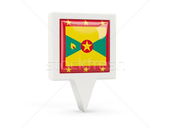 Vierkante vlag icon Grenada geïsoleerd witte Stockfoto © MikhailMishchenko