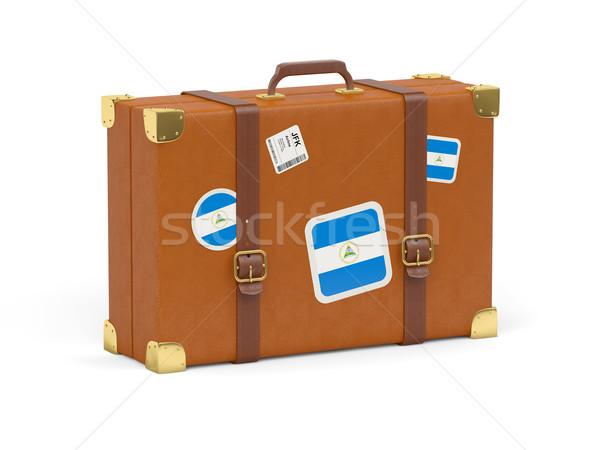 Bőrönd zászló Nicaragua utazás izolált fehér Stock fotó © MikhailMishchenko
