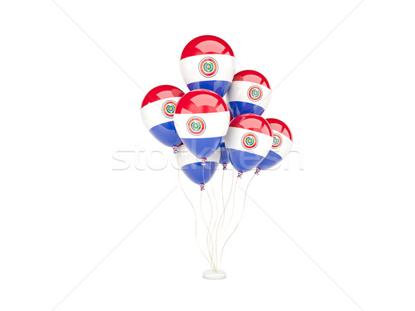 Zdjęcia stock: Pływające · balony · banderą · Paragwaj · odizolowany · biały