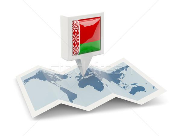 Cuadrados pin bandera Bielorrusia mapa viaje Foto stock © MikhailMishchenko
