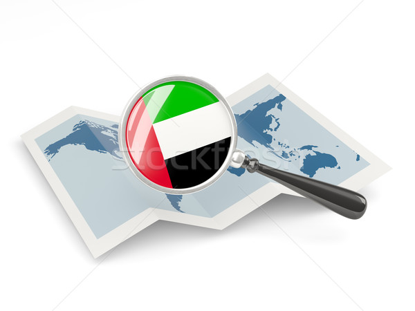 Nagyított zászló Egyesült Arab Emírségek térkép izolált utazás Stock fotó © MikhailMishchenko