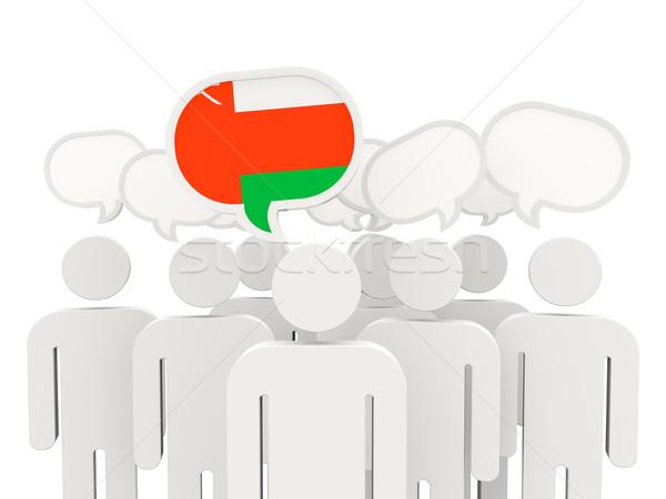 Emberek zászló Omán izolált fehér megbeszélés Stock fotó © MikhailMishchenko