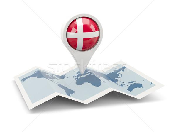 Pin bandera Dinamarca mapa viaje blanco Foto stock © MikhailMishchenko