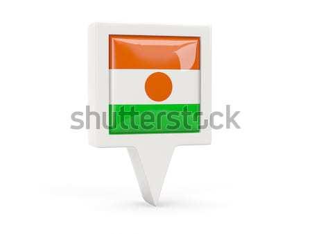 Cuadrados metal botón bandera Níger aislado Foto stock © MikhailMishchenko