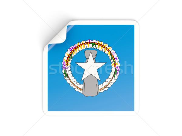 Vierkante sticker vlag noordelijk eilanden geïsoleerd Stockfoto © MikhailMishchenko