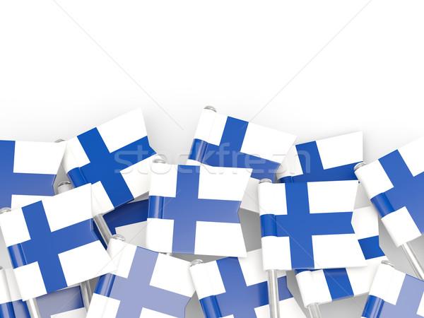Vlag pin Finland geïsoleerd witte achtergrond Stockfoto © MikhailMishchenko