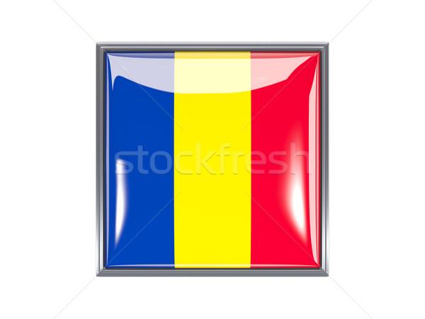 Praça ícone bandeira Romênia metal branco Foto stock © MikhailMishchenko