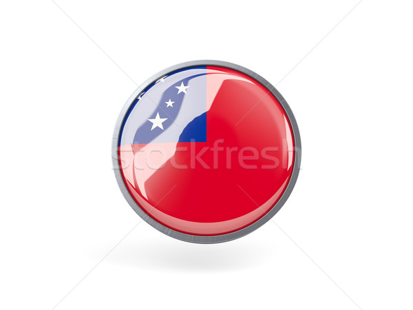 ícone bandeira Samoa metal quadro viajar Foto stock © MikhailMishchenko