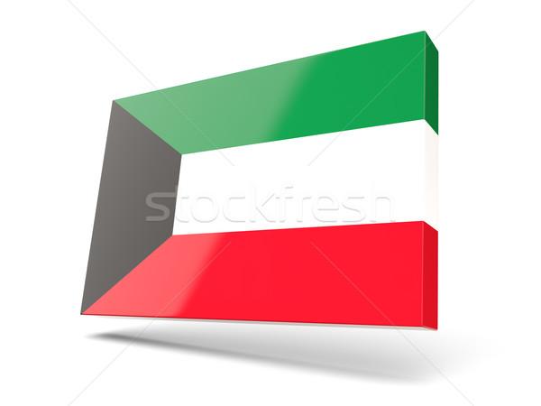 Piazza icona bandiera Kuwait isolato bianco Foto d'archivio © MikhailMishchenko