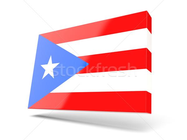 Vierkante icon vlag Puerto Rico geïsoleerd witte Stockfoto © MikhailMishchenko