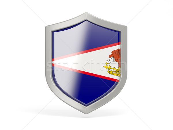 Escudo ícone bandeira Samoa Americana isolado branco Foto stock © MikhailMishchenko