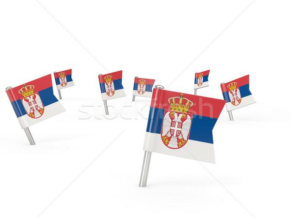 Kare bayrak Sırbistan yalıtılmış beyaz ülke Stok fotoğraf © MikhailMishchenko