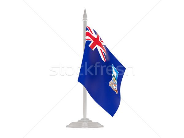 Zászló Falkland-szigetek zászlórúd 3d render izolált fehér Stock fotó © MikhailMishchenko