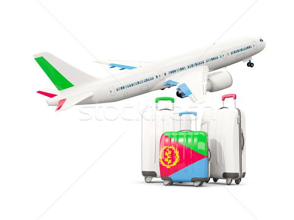 Камера флаг три мешки самолет изолированный Сток-фото © MikhailMishchenko