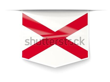 Bayrak kare ikon yalıtılmış beyaz 3d illustration Stok fotoğraf © MikhailMishchenko