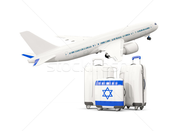 Luggage with flag of israel. Three bags with airplane Stock photo © MikhailMishchenko