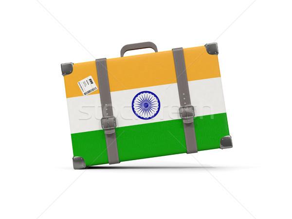 Bagagem bandeira Índia mala isolado branco Foto stock © MikhailMishchenko