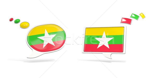 два чате иконки флаг Мьянма квадратный Сток-фото © MikhailMishchenko