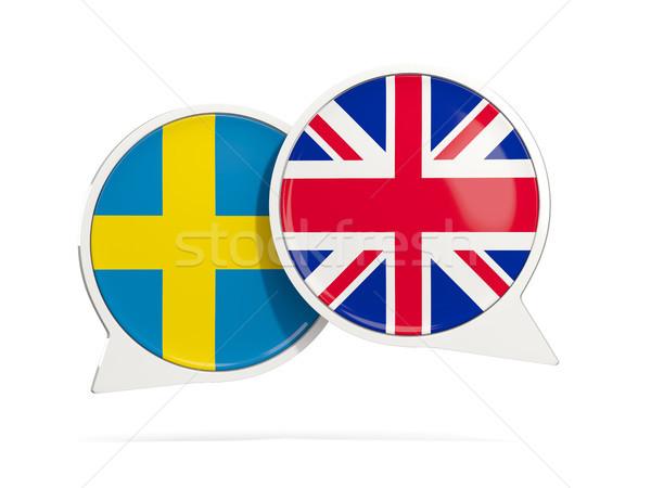 Chat bubbles of Sweden and UK isolated on white Stock photo © MikhailMishchenko