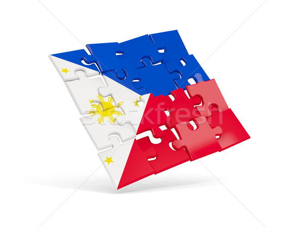 Puzzle flag of philippines isolated on white Stock photo © MikhailMishchenko