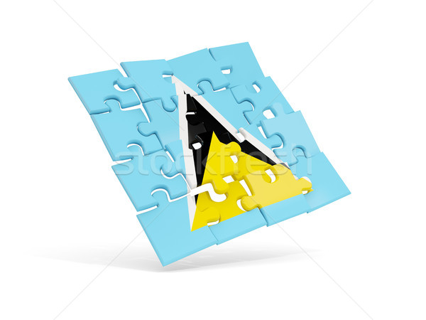 Puzzle flag of saint lucia isolated on white Stock photo © MikhailMishchenko