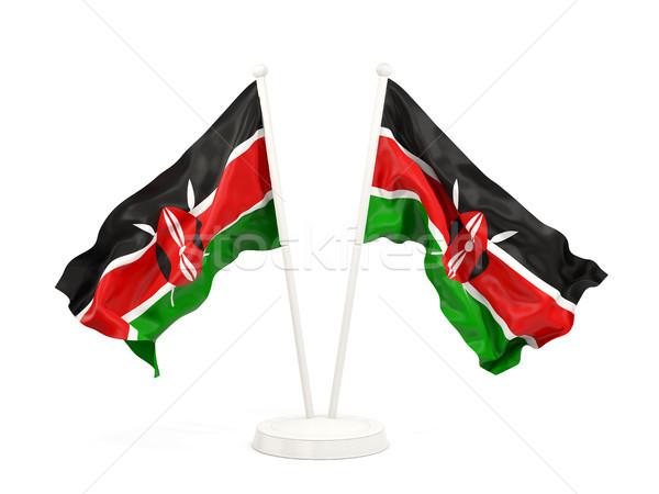 Kettő integet zászlók Kenya izolált fehér Stock fotó © MikhailMishchenko