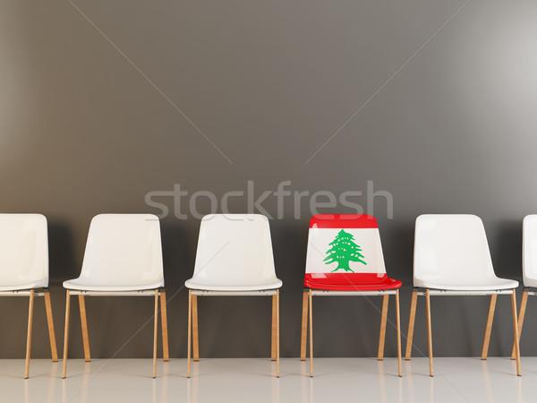 Szék zászló Libanon csetepaté fehér székek Stock fotó © MikhailMishchenko