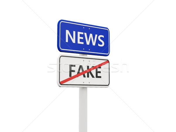 Hírek jelzőtábla ellenkező hamisítvány feliratok izolált Stock fotó © MikhailMishchenko