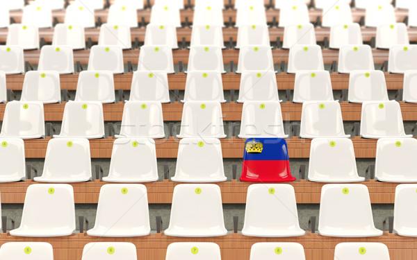 Stadio sede bandiera Liechtenstein fila bianco Foto d'archivio © MikhailMishchenko