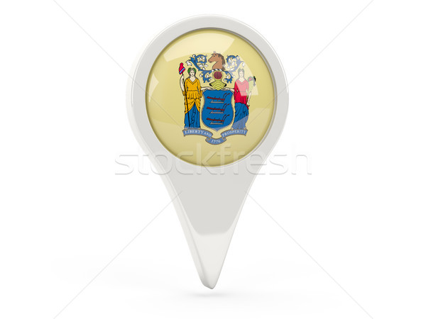 Round flag pin with flag of new jersey. United states local flag Stock photo © MikhailMishchenko