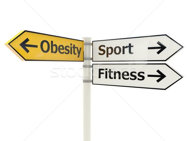 Fettleibigkeit Schild isoliert weiß Zeichen Weg Stock foto © MikhailMishchenko