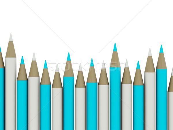 Ceruzák izolált fehér kék szürke üzlet Stock fotó © MikhailMishchenko