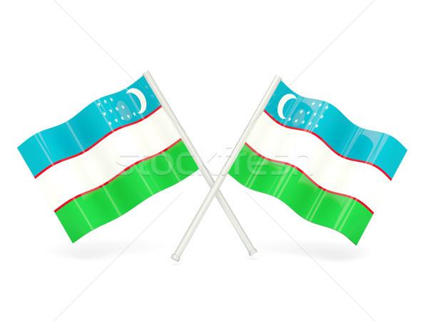 Bayrak Özbekistan iki dalgalı bayraklar yalıtılmış Stok fotoğraf © MikhailMishchenko