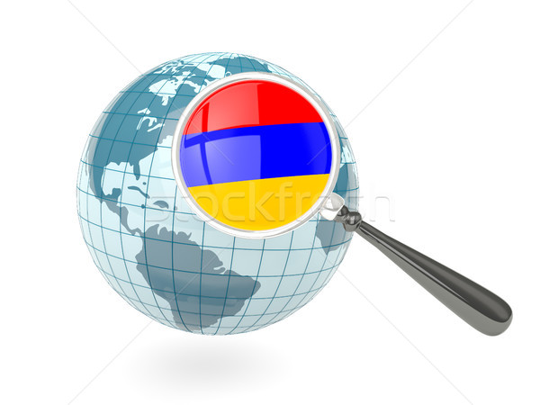 Bandeira Armênia azul globo isolado Foto stock © MikhailMishchenko