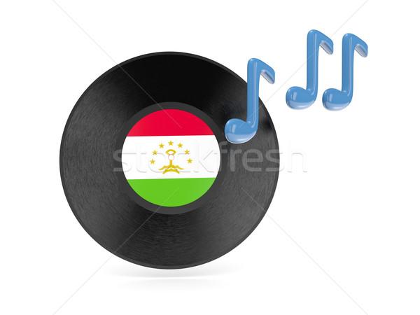 виниловых диск флаг Таджикистан изолированный белый Сток-фото © MikhailMishchenko