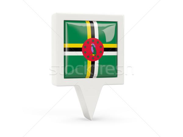 Vierkante vlag icon Dominica geïsoleerd witte Stockfoto © MikhailMishchenko