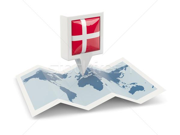 Vierkante pin vlag Denemarken kaart reizen Stockfoto © MikhailMishchenko