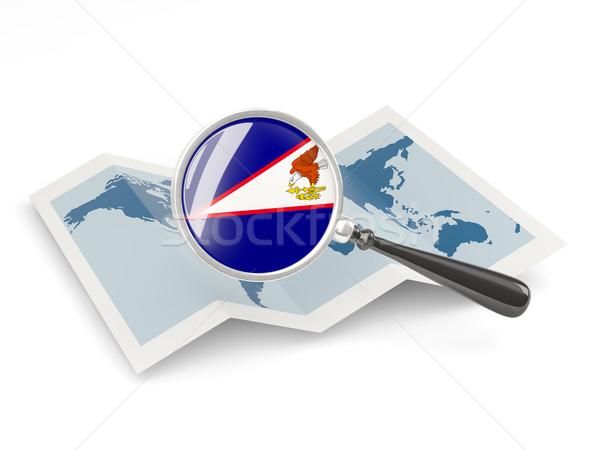 Bandeira Samoa Americana mapa viajar Foto stock © MikhailMishchenko