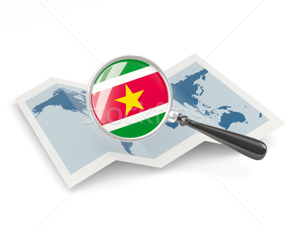Magnified flag of suriname with map Stock photo © MikhailMishchenko
