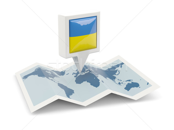 Square pin with flag of ukraine on the map Stock photo © MikhailMishchenko