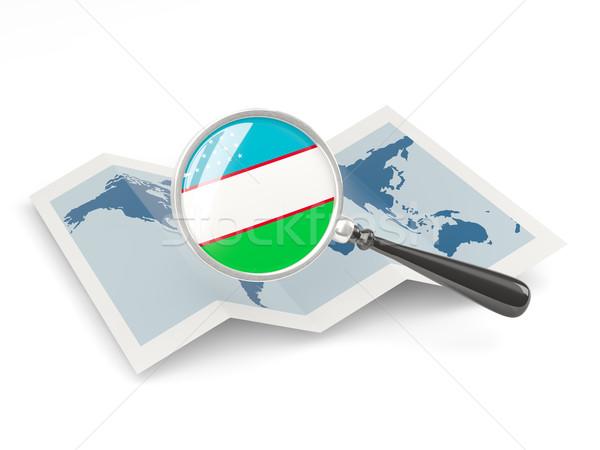 флаг Узбекистан карта белый Сток-фото © MikhailMishchenko
