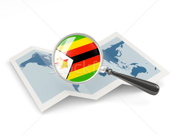Magnified flag of zimbabwe with map Stock photo © MikhailMishchenko