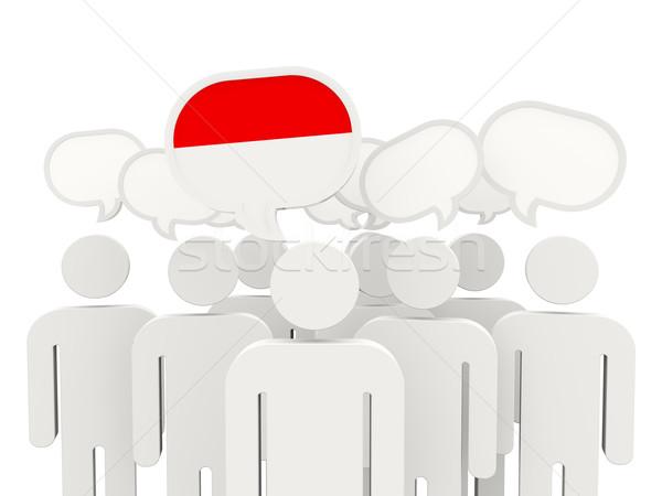 Pessoas bandeira Mônaco isolado branco reunião Foto stock © MikhailMishchenko