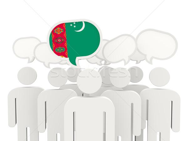 Emberek zászló Türkmenisztán izolált fehér megbeszélés Stock fotó © MikhailMishchenko