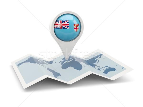 Pin bandeira Fiji mapa viajar branco Foto stock © MikhailMishchenko