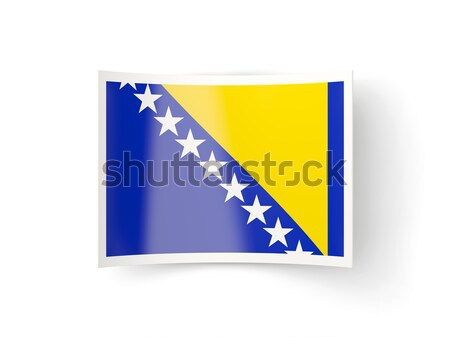 Cuadrados metal botón bandera Bosnia Herzegovina aislado Foto stock © MikhailMishchenko