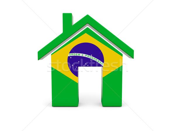 Domu banderą Brazylia odizolowany biały wyszukiwania Zdjęcia stock © MikhailMishchenko