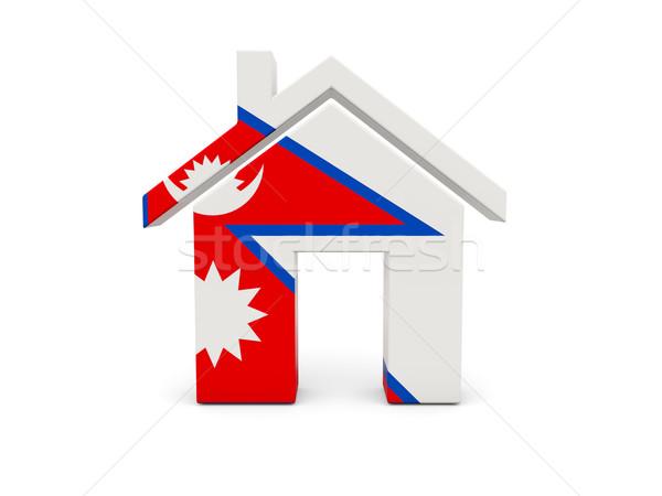 Ev bayrak Nepal yalıtılmış beyaz arama Stok fotoğraf © MikhailMishchenko