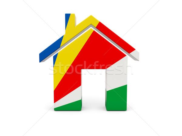 Casa bandeira Seychelles isolado branco pesquisar Foto stock © MikhailMishchenko