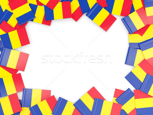 Marco bandera Rumania aislado blanco Foto stock © MikhailMishchenko